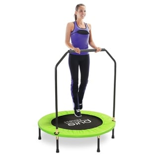 Pure Fitness Green/Black Stainless Steel 40-inch Mini Trampoline with Handrail