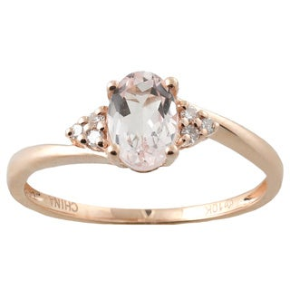 10k Rose Gold Morganite and Diamond Accented Ring (Size 7)