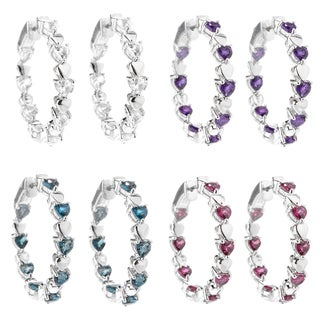Sterling Silver 1.25-inch Gemstone Inside-out Hoop Earrings