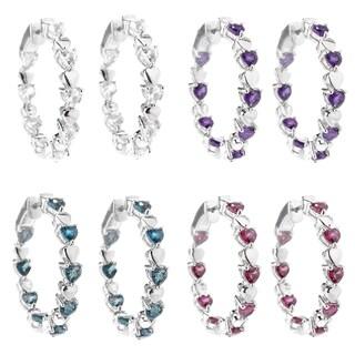 Sterling Silver 1.25-inch Gemstone Inside-out Hoop Earrings