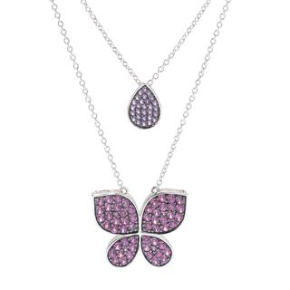 Sterling Silver Gemstone 18-inch Butterfly Necklace