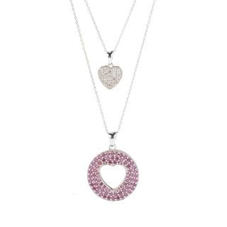 Rhodium-plated Sterling Silver 3.80ctw Rhodolite and White Zircon 18-inch Necklace