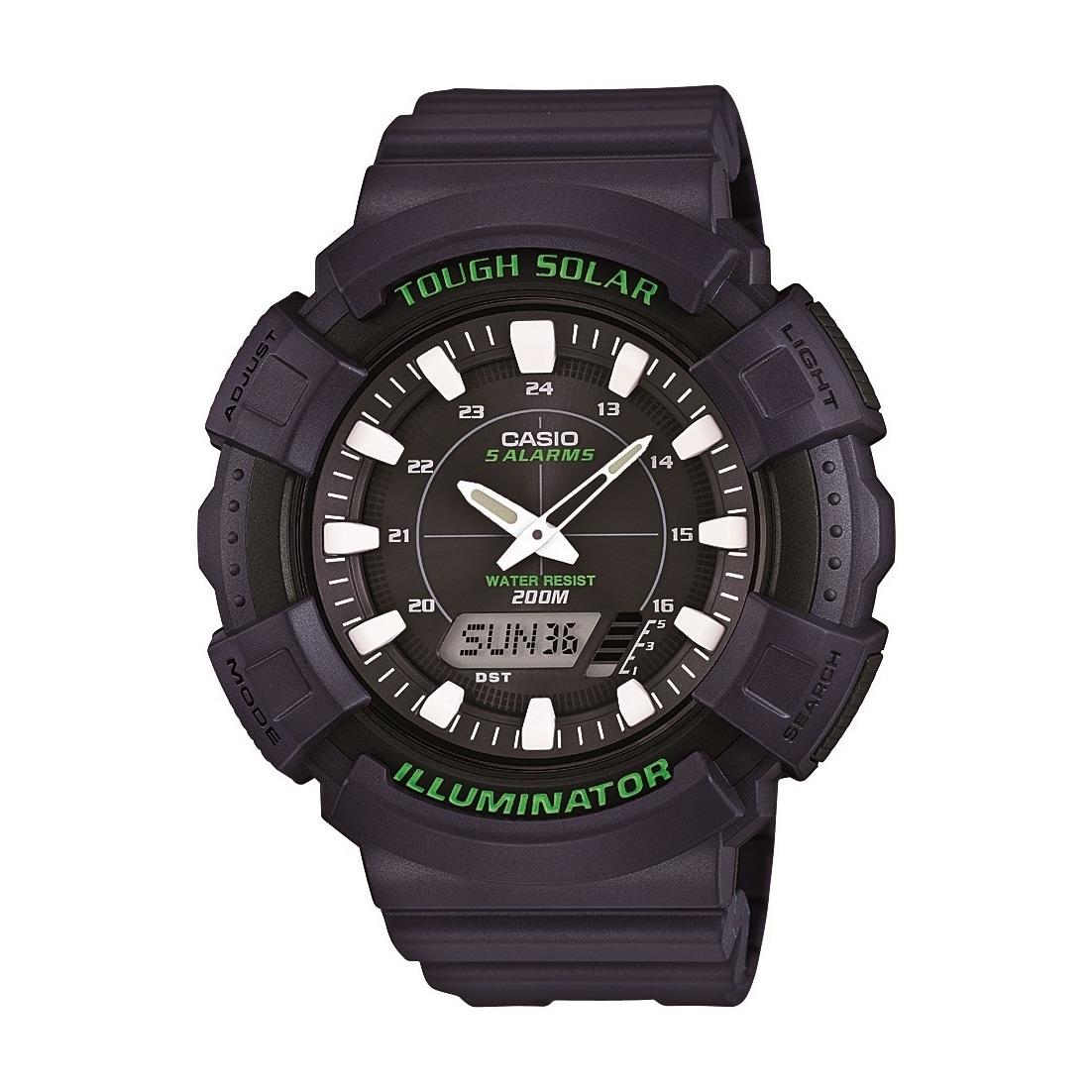 Casio Mens Solar Watch with Black Resin Band (Black), Siz...