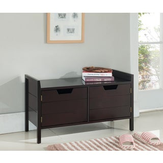 K&B Espresso Wood Seating Bench and Shoe Cabinet