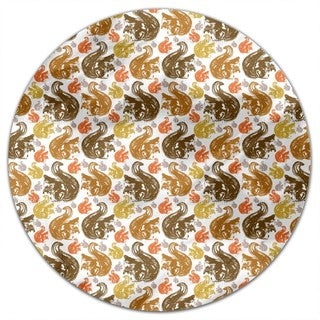 Squirrel Get Together Round Tablecloth