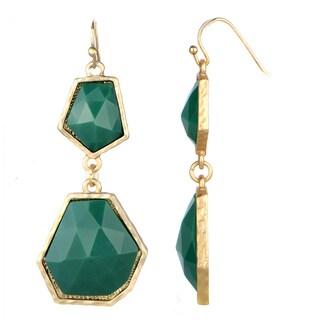 Green Geometric Drop Earrings