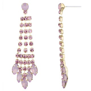 Light Pink Rhinestone Fringe Dangle Earrings