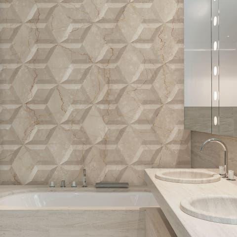 SomerTile 6.75x11.75-inch Aratiba Flat Beige Ceramic Wall Tile (22 tiles/6.55 sqft.)