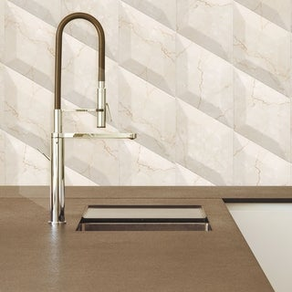 SomerTile 6.75x11.75-inch Aratiba Bevel Beige Ceramic Wall Tile (Case of 12)