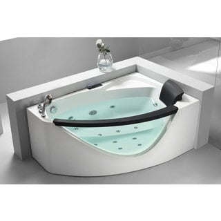 EAGO AM198-L White Acrylic 59-inch x 39.375-inch x 23.625-inch Left Drain Rounded Clear Whirlpool Bathtub