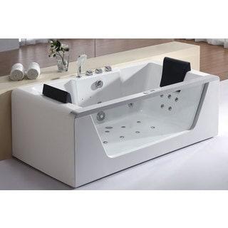 Eago AM196 Clear Acrylic 6u0027 Rectangular Whirlpool Bath Tub For Two