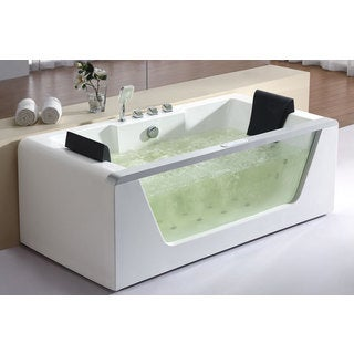 clear white acrylic 6 foot inline heater whirlpool bath tub for two