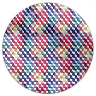 Dimension Of Stacked Squares Round Tablecloth