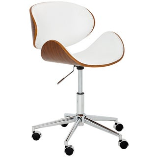 Sunpan Quinn Snow White/Veneer Wood Office Chair