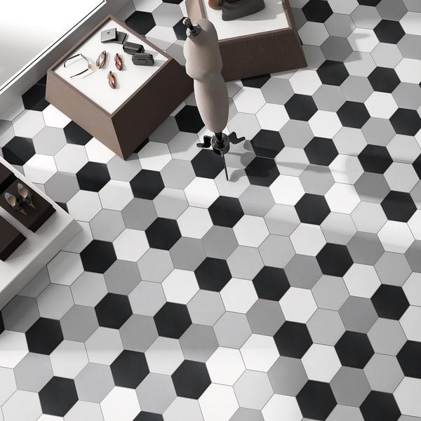 Shop Somertile 8 625x9 875 Inch Textilis Black Hex
