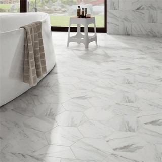 SomerTile 8.625x9.875-inch Marmol Carrara Hex Porcelain Floor and Wall Tile (Case of 25)