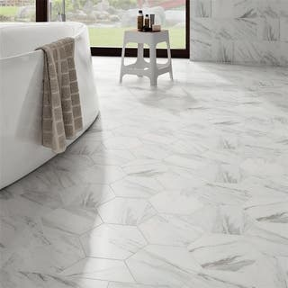 SomerTile 8.625x9.875-inch Marmol Carrara Hex Porcelain Floor and Wall Tile (Case of 25)|https://ak1.ostkcdn.com/images/products/11863764/P18763447.jpg?impolicy=medium