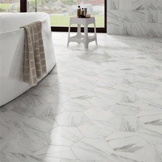 SomerTile 8.625x9.875 Inch Marmol Carrara Hex Porcelain Floor And Wall Tile  (