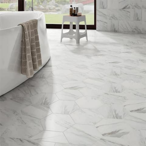 SomerTile 8.625x9.875-inch Marmol Carrara Hex Porcelain Floor and Wall Tile (25 tiles/11.56 sqft.)