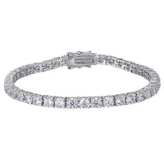 Rhodium Plated Round CZ Tennis Bracelet