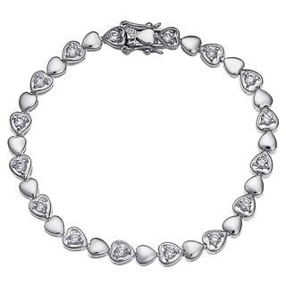 Rhodium-plated Round-cut CZ Heart Tennis Bracelet