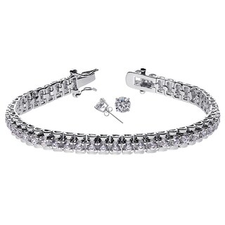 Silver Brass Cubic Zirconia Rhodium-plated Tennis Bracelet and Cubic Zirconia Stud Earrings