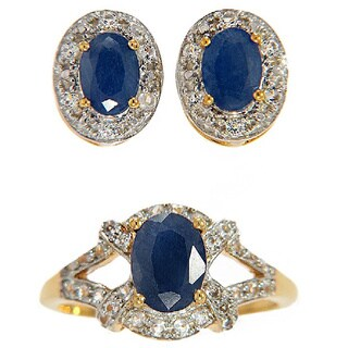 Goldplated Sterling Silver Blue Sapphire and White Topaz Earrings and Ring Set