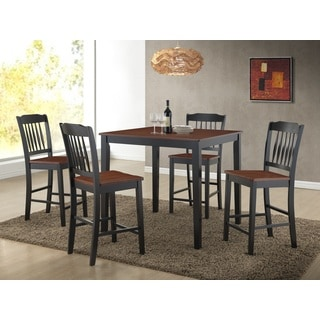 Anja Two-tone Cherry and Black Solid Wood 5-piece Dining Set