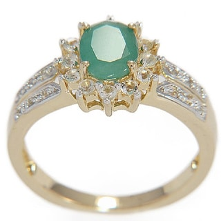 Gold Over Silver Emerald and White Topaz Ring