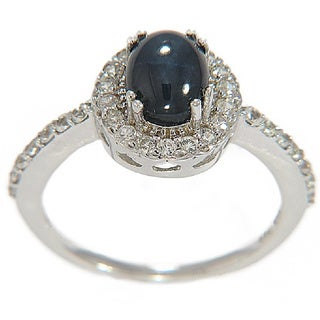 Sterling Silver Blue Star Sapphire and White Sapphire Ring
