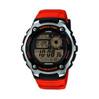 Casio Mens Silver Tone Black Multifunction Watch - Orange