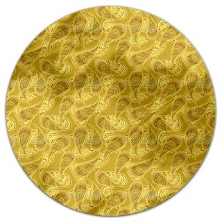 Gold Rush Of Paisleys Round Tablecloth