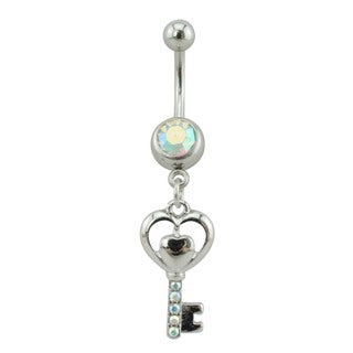 Supreme Jewelry Silver Heart Key With Rainbow Gem Stones