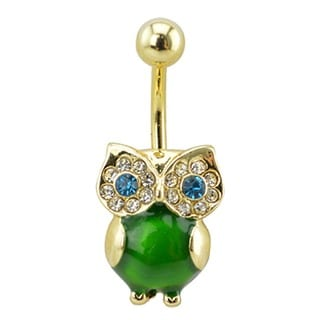Supreme Jewelry Gold Tone and Green Owl Belly Ring with Clear and Aqua Stones