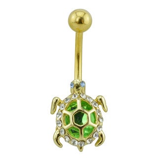 Supreme Jewelry Gold Tone Turtle Belly Ring with Green and Clear Gems
