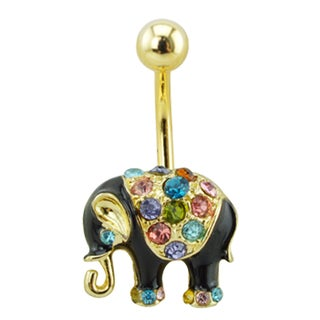Supreme Jewelry Gold Tone and Black Elephant Belly Ring with Multi Color Gems