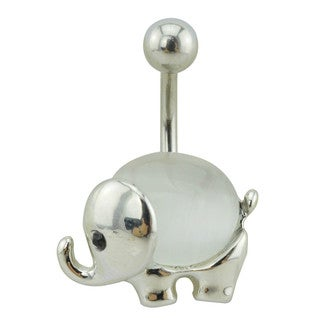 Supreme Jewelry Silver and White Pearlescent Elephant Belly Ring