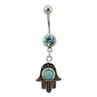 Supreme Jewelry Silver Hamsa Belly Ring with Turquoise Bead and Gem