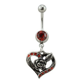 Supreme Jewelry Silver Heart and Rose Belly Ring with Red Stones