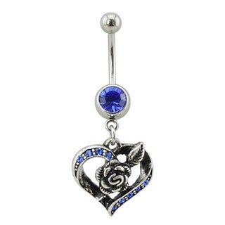 Supreme Jewelry Silver Heart and Rose Belly Ring with Blue Stones