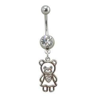 Supreme Jewelry Girl's Silver Teddy Bear Belly Ring with Clear Gem