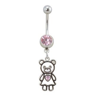 Supreme Jewelry Silver Girl Teddy Bear Belly Ring with Pink Gem