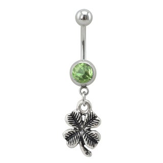 Supreme Jewelry Silver Four Leaf Clover with Light Green Gem Stone
