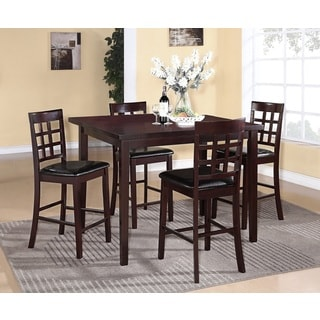 Poka Espresso Finish Wood Counter-height 5-piece Dining Set