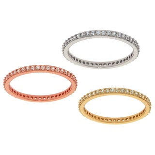 Eternally Haute 14k Tri-goldplated Stackable Eternity Rings