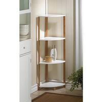 Brown/White Bamboo MDF Wood 4-Tier Corner Shelf