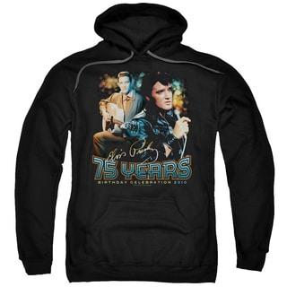 Elvis/75 Years Adult Pull-Over Hoodie in Black