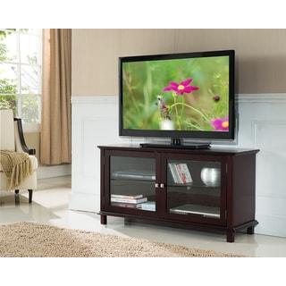K&B Cherry Wood 2-door TV Stand
