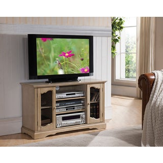 K&B Natural-colored Wood and Veneer Antique-style Television Stand
