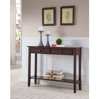 K and B Furniture Co Inc C1200 Walnut-finished Wood/Veneer Console Table